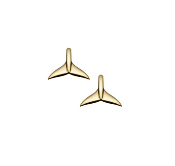 Whale Tail Gold Studs