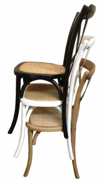 White Cross Back Stackable Chair