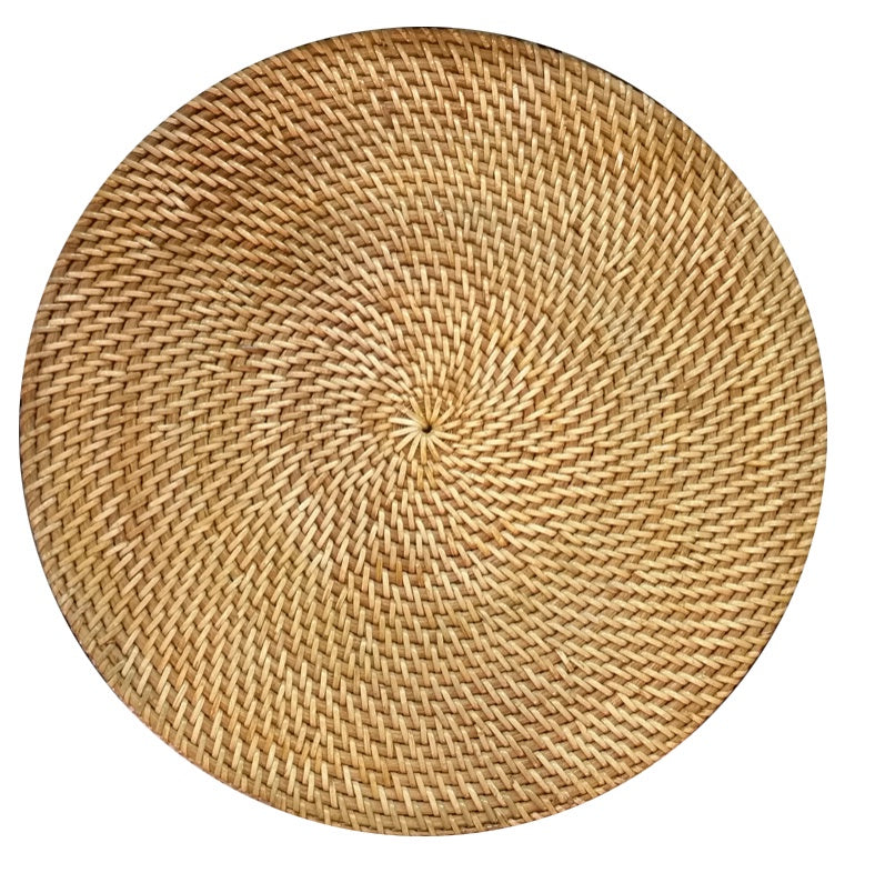 Round Placemat Full Weaved Natural Brown