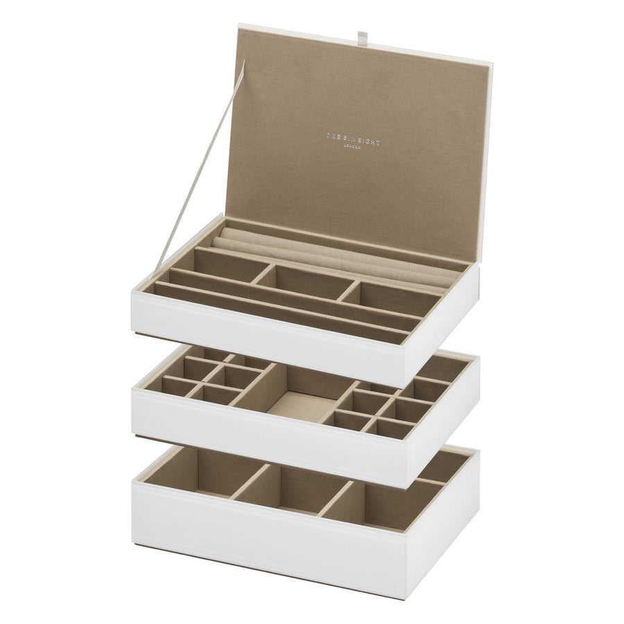 White Stackable Jewellery Box Set