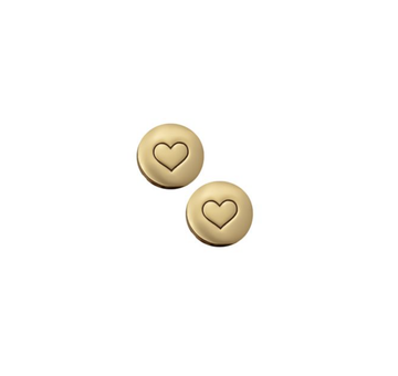 Circle with Heart Gold Studs