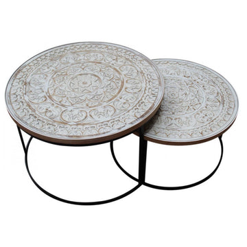 Nested Coffee Table - Black Legs (Set of 2)