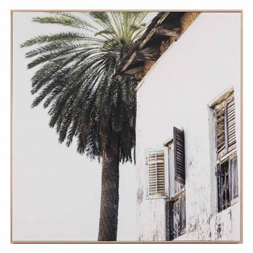 Palm Window Square Framed Canvas