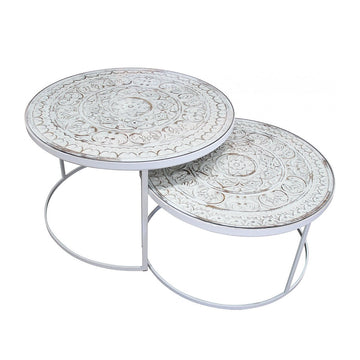 Nested Coffee Tables - White Legs (Set of 2)
