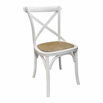 White Cross Back Chair - Darker Rattan Seat