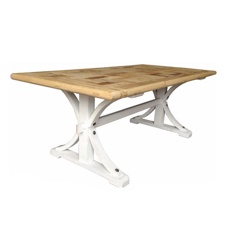 Brussels Coffee Table - Natural Top, White Base