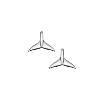 Whale Tail Silver Studs