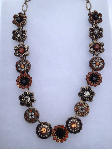 Topaz and Black Onyx Flower Antique gold necklace