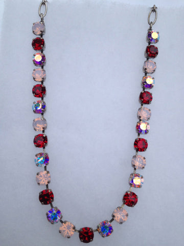 Red & Pink Crystal & Opal Necklace