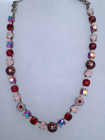Red & Pink Crystal & Opal Multi-stone Necklace