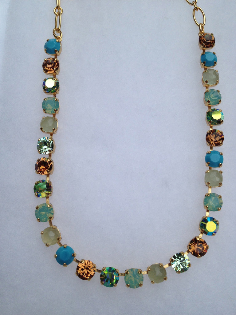 Turquoise, Indian Sapphire, Citrine, Crystal Meridian Blue & Pacific Opal Necklace