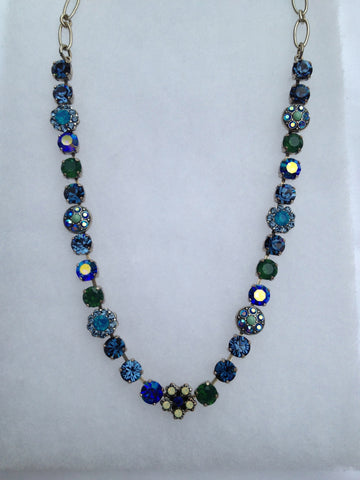 Turquoise, Blue & Green Crystal round stone and flower necklace