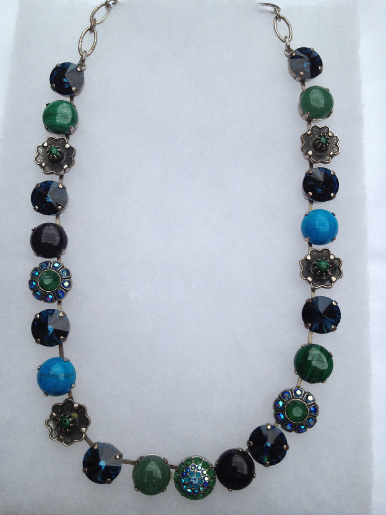 Turquoise, Malachite, Blue & Green Crystal Large multi stone, necklace