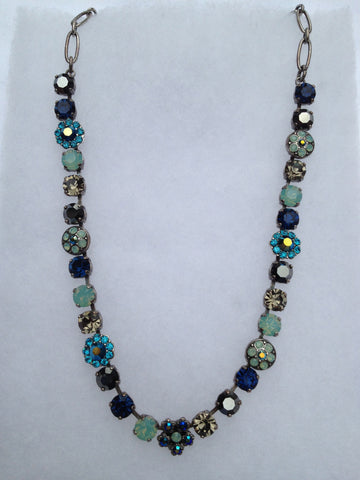 Opal, Turquoise, Hematite, Blue Crystal Multi-stone, Flower necklace