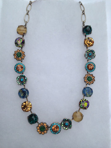Malachite, Citrine, Topaz Blue & Green Crystal Multi-stone Necklace