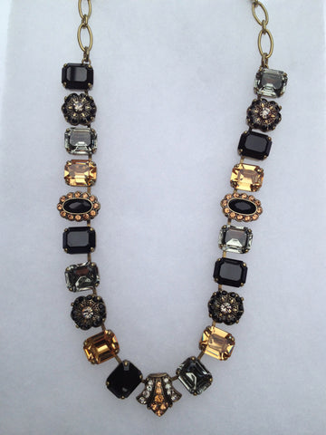 Black Onyx, Hematite, Citrine,Topaz Square and Oval Antique Gold Necklace