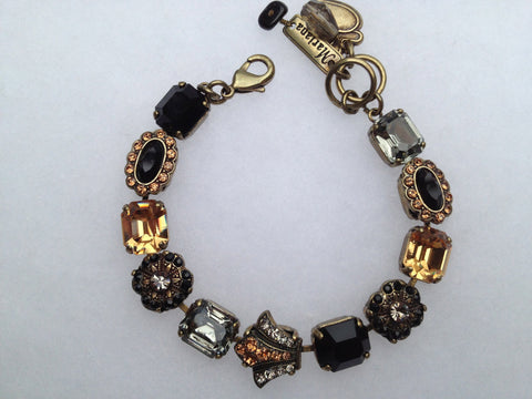 Black Onyx, Hematite, Citrine,Topaz Square and Oval Antique Gold Bracelet
