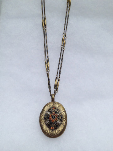 Topaz and Black Onyx Double Strand Antique Gold Locket