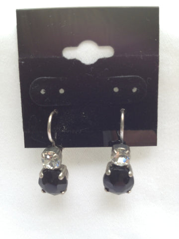 Crystal & Black Onyx Two-Stone Drop Earring