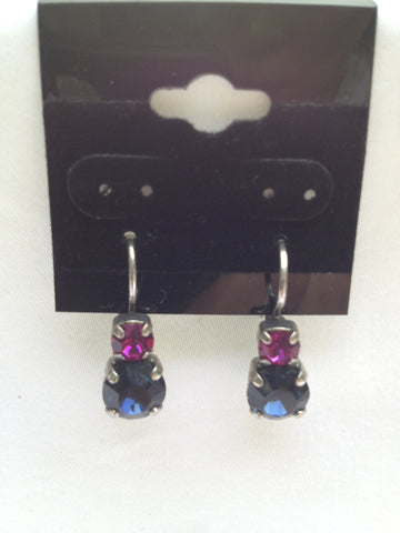 Fuchsia Pink & Navy Crystal Two-Stone Drop Earring