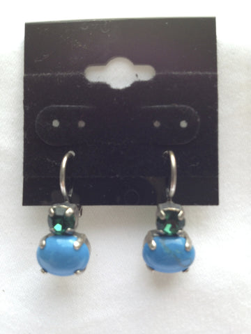 Kelly Green Crystal & Turquoise Two-Stone Drop Earring