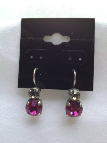 Fuchsia & Crystal Two-Stone Drop Earring