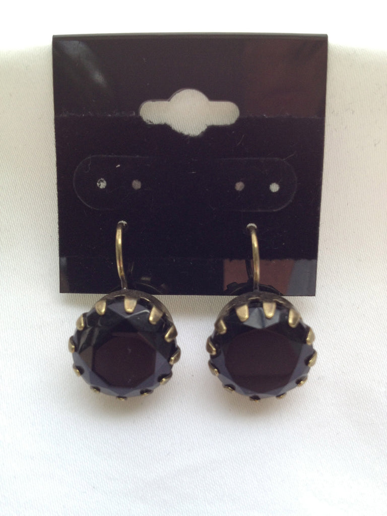 Black Onyx Large Single Stone Antique Gold Drop Earring