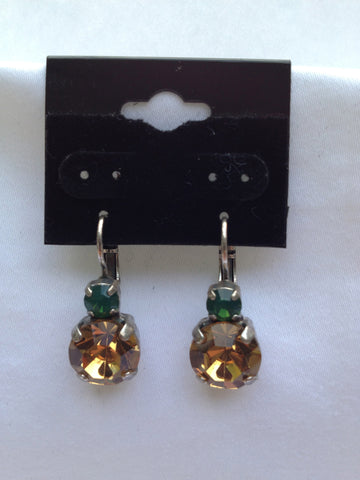Emerald Green & Gold Crystal Medium Stone Drop Earring