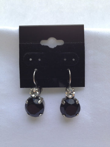 Black Onyx & Crystal Medium Stone Drop Earring