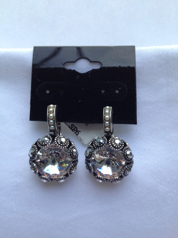 Swarovski Clear Crystal Multi-Stone Surround Round Earrings