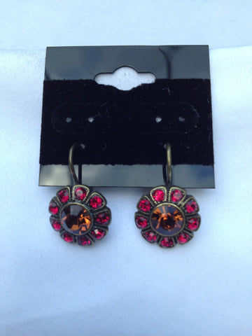 Sunflower Red & Topaz Swarovski Crystal Antique Gold Earrings