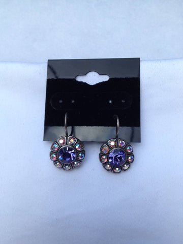 Sunflower Purple & Pink Swarovski Crystal Earrings