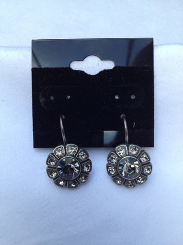 Sunflower Smokey Black & Clear Swarovski Crystal Earrings