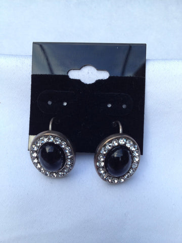 Oval Black & Swarovski Crystal Earrings