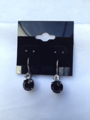 Black Swarovski Crystal Two-Stone Small Drop Earrings