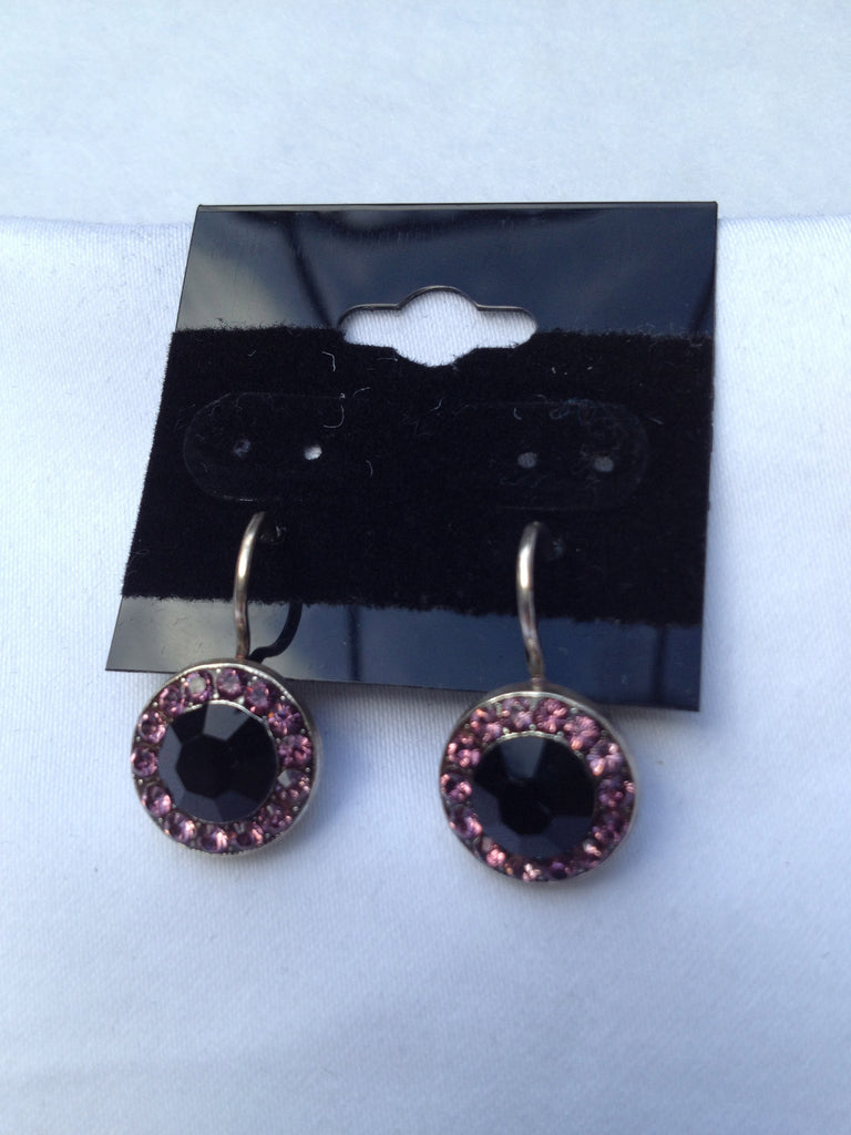Black & Pink Swarovski Crystal Round Drop Earrings