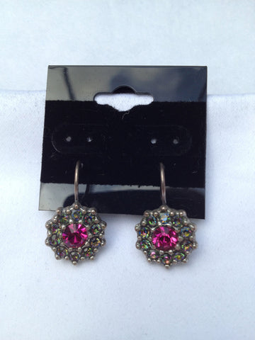 Fuchsia & Green Swarovski Crystal Small Flower Earrings