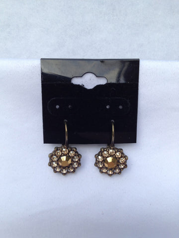 Gold Swarovski Crystal Small Flower Antique Gold Earrings
