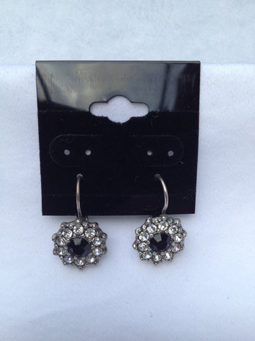 Black Onyx Swarovski Crystal Small Flower Earrings