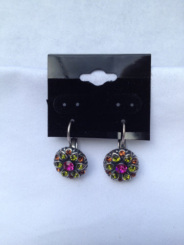 Fuchsia, Green & Topaz Swarovski Crystal Small Round Earrings