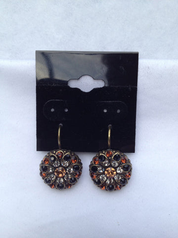 Flower Blossom Round Black Onyx & Topaz Swarovski Crystal Antique Gold Earring