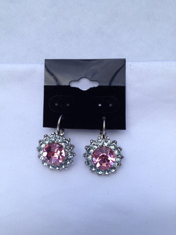 Large Flower Pink & Crystal Round Swarovski Earrings