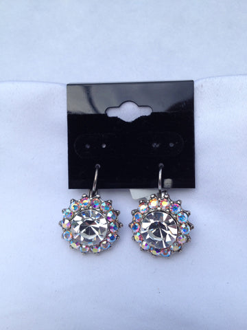 Large Flower Crystal Round Swarovski Earrings