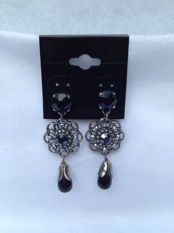 Black Onyx Flower Multi-stone Drop Earrings