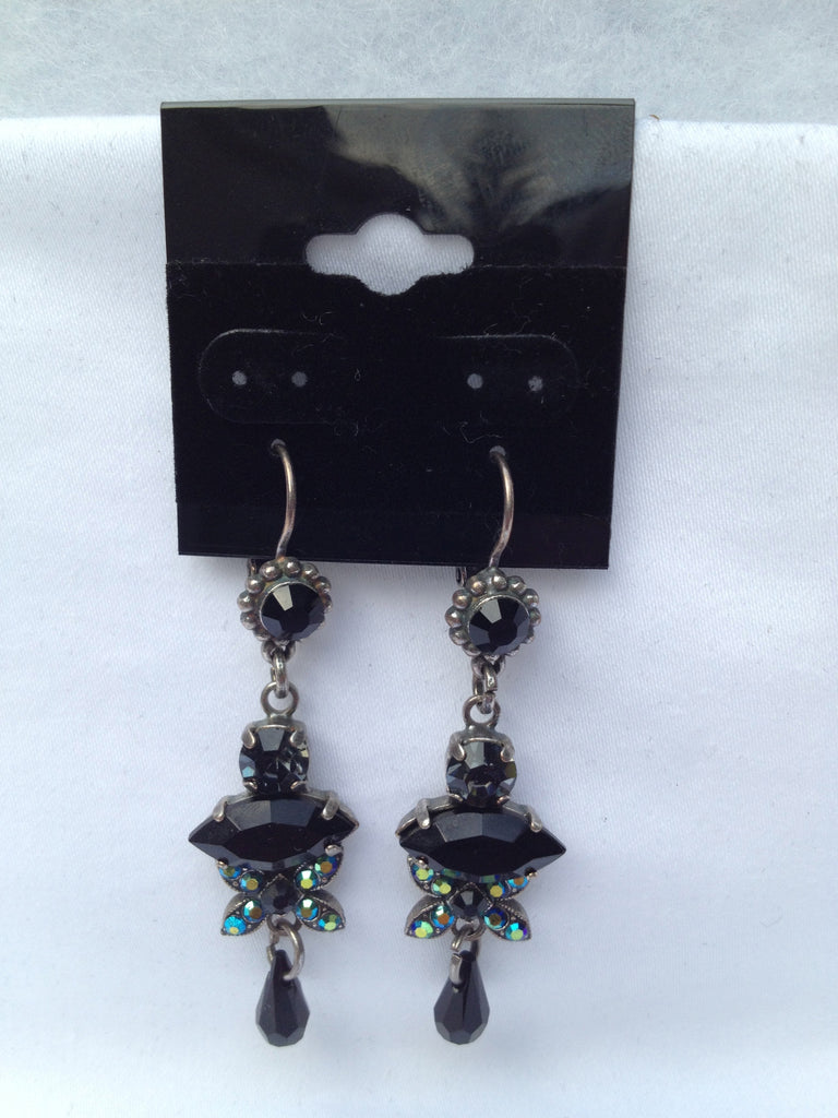 Black Onyx & Swarovski Crystal Marquise Multi-stone Dangle Earrings
