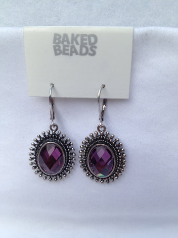 Purple Oval Dangle Earrings