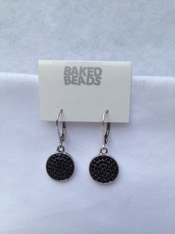 Black Multi-stone Round Earrings