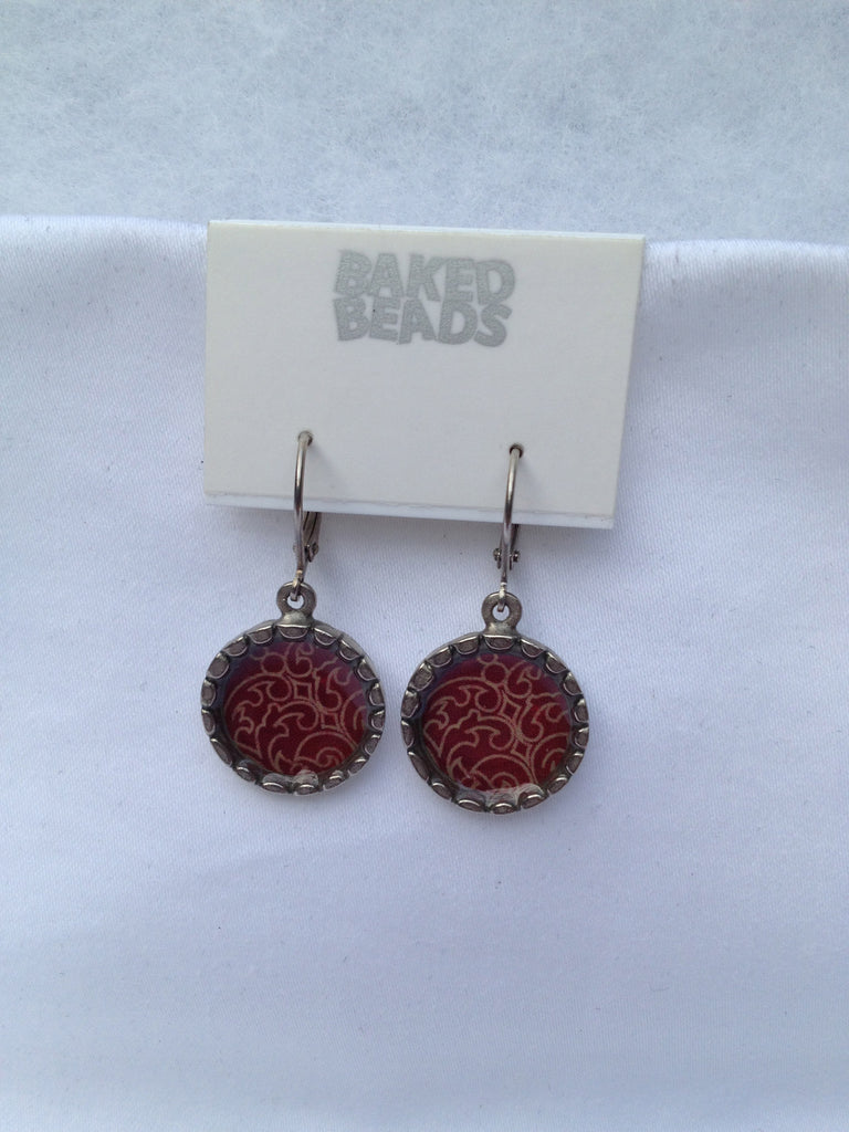 Dark Red Round Earrings