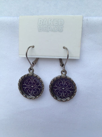 Dark Purple Round Earrings