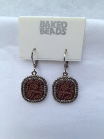 Deep Rust Square Earrings